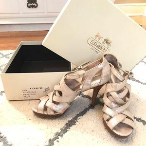 Coach Shoes | Coach Aenya Metallic heels size 9.5
